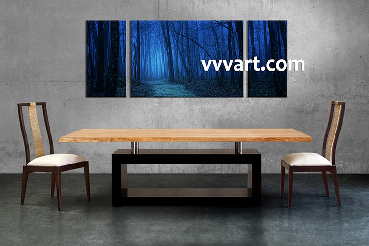 Scenery Art, Triptych canvas, dining room decor, forest canvas print, night wall art