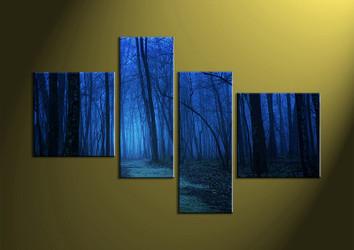 Landscape Art, 4 piece wall art, scenery art, forest wall art, night wall art