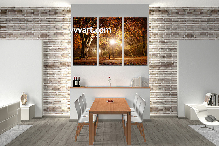 Landscape Art, 3 piece art, dining room decor, forest wall art, night wall art
