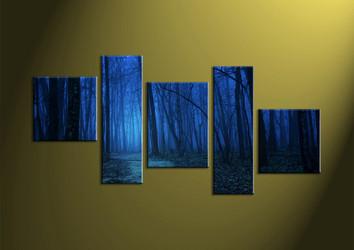 Landscape Art, 5 piece wall art, scenery art, forest wall art, night wall art