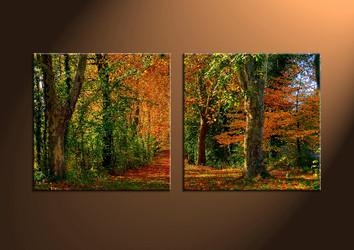 2 Piece Canvas Wall Art, landscape wall art, scenery artwork, forest wall art