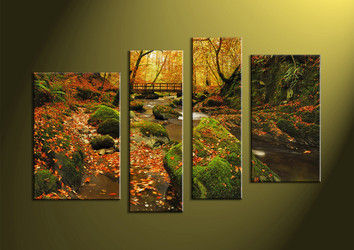 Landscape Art, 4 piece wall art, nature wall art, forest wall art, scenery art
