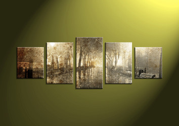 reviews vvvart,5 Piece Canvas Wall, landscape art,scenery pictures, scenery wall art,  dark canvas print