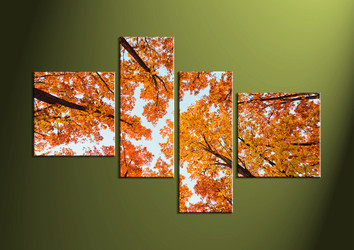 Scenery Art,4 piece canvas wall art, dining room decor, forest wall art, trees canvas print