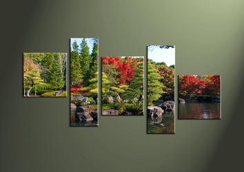Canvas Prints, landscape prints, 5 piece wall art, waterfall canvas print, forest wall art