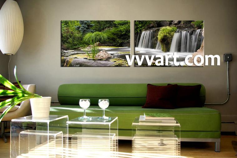 Landscape Art, two piece wall art, living room wall art, forest wall art,nature wall art