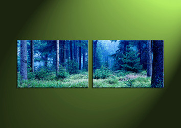 Landscape Art, two piece wall art, wall art, night wall art, forest wall art
