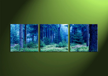 Landscape Art, 3 piece art, wall art, night wall art, forest wall art, scenery artwork