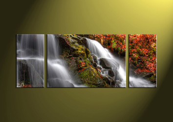 Landscape Art, 3 piece art, forest wall art, forest art, waterfall art