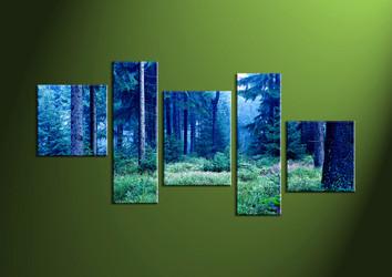 5 Piece Yellow Trees Photo Canvas,Landscape Art, 5 piece wall art, wall art, scenery artwork, forest wall art