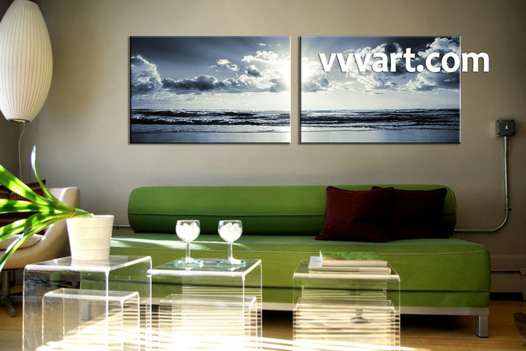 2 Piece Canvas Wall Art, black and white wall art, living room wall art