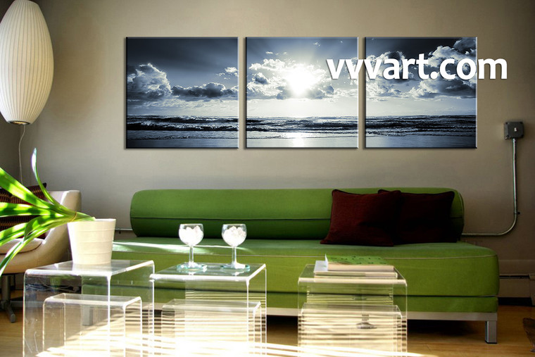 3 Piece Canvas Wall Art, black and white wall art, living room wall art, sea wall art