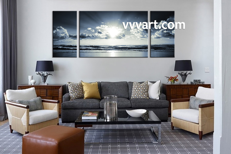 Black and white art, 3 piece art, sunset sunrise art, sea wall art, living room wall art, sea artwork