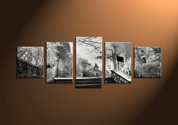 wall art, scenery large canvas, 5 piece canvas art, path pictures, scenery huge picture