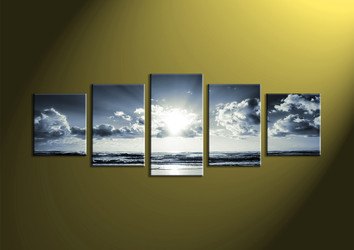 Canvas Prints, black and white prints, 5 Piece Canvas Wall, sea wall art, sea artwork