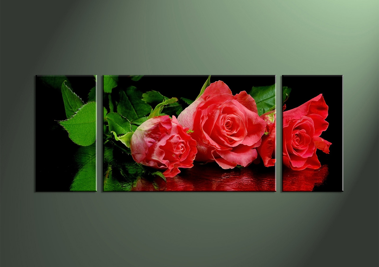 3 piece red rose canvas wall triptych artwide black red decor art