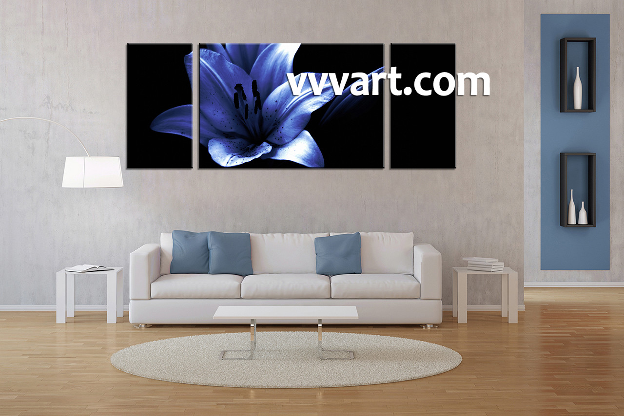 3 Piece Blue Floral Photo Canvas Wide Black White Decor Art