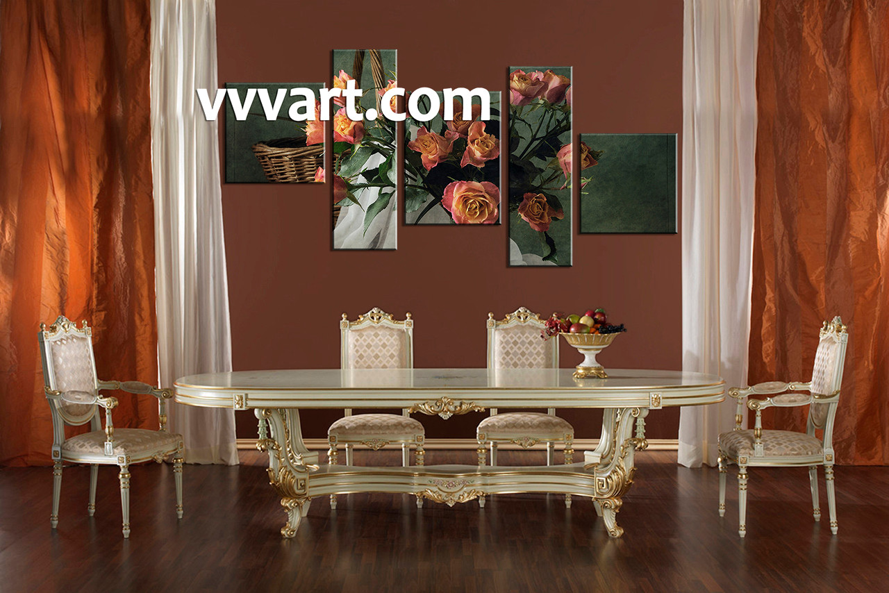 5 Piece Red Floral Art Green Multi Panel Art - Decorative-floral-print-chairs-from-floral-art