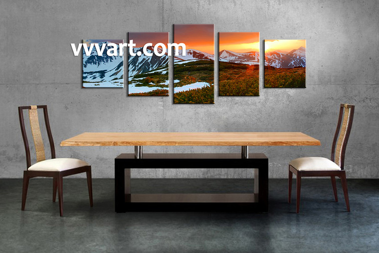 Landscape Art, 5 piece wall art, dining room pictures, landscape picture