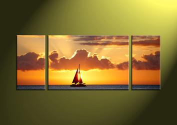 3 piece canvas wall art, sunset canvas print, sunset wall art, wall art, ocean large pictures