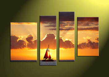 4 piece canvas prints, 4 piece large canvas, sunset wall art, wall art, scenery huge canvas art