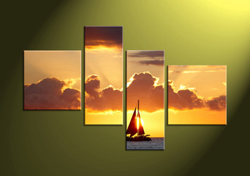 4 piece canvas prints, 4 piece large canvas, sunset wall art, wall art, scenery huge canvas art