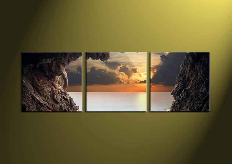 Home Decor, 3 piece wall art, ocean multi panel art, scenery photo canvas, sunset artwork