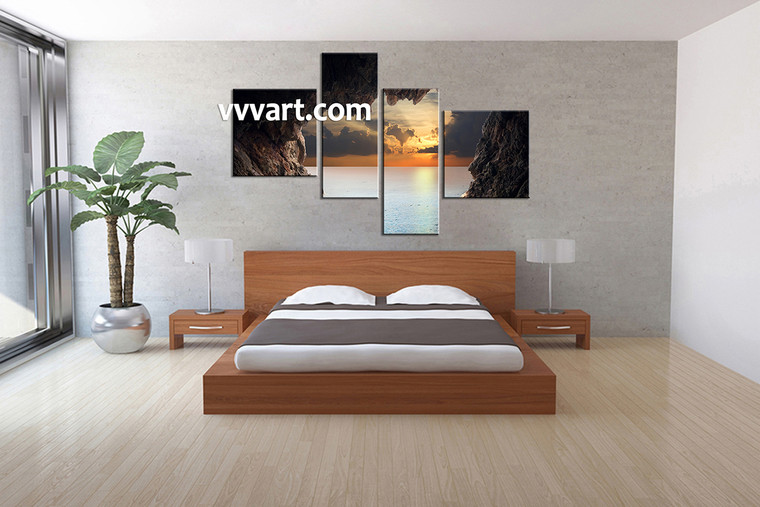 Bedroom Art, 4 piece canvas art prints,ocean canvas print, Scenery group canvas, sunset pictures