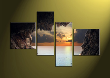 Home Decor, 4 Piece Wall Art, ocean multi panel art, mountain canvas, sunset artwork