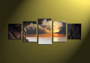 Home Decor,5 piece canvas prints, ocean multi panel canvas, Scenery canvas prints, mountain canvas photography