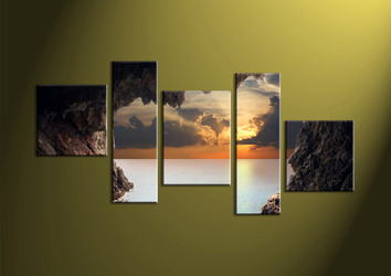 Home Decor, 5 piece wall art, ocean multi panel art, scenery photo canvas, sunset artwork