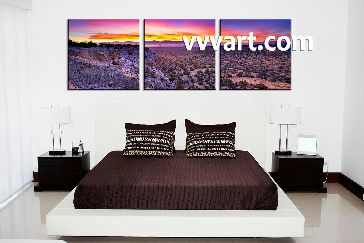61048f2a59e 3 Piece Canvas Purple Landscape Desert Art