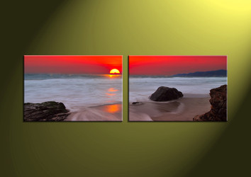 Home Decor,2 piece canvas wall art, ocean multi panel canvas, Scenery canvas prints, Sunset canvas photography