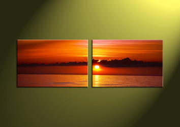 Home Decor, 2 Piece Wall Art, ocean multi panel art, scenery photo canvas, sunset artwork