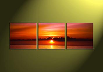 Home Decor Art, 3 piece canvas art prints,ocean canvas print, Scenery group canvas, sunset pictures