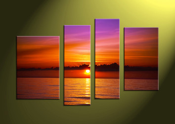 Home Decor, 4 Piece Wall Art, ocean multi panel art, scenery photo canvas, sunset artwork