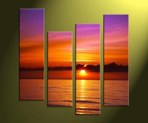 Home Decor, 4 Piece Wall Art, ocean multi panel art, sunset photo canvas, scenery artwork