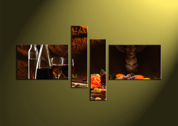 4 piece wall art, wine multi panel art, kitchen canvas print, wall art, home decor