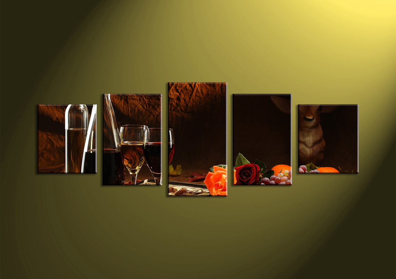 5 Piece Black Brown Canvas Prints Fruits Wine Wall Art