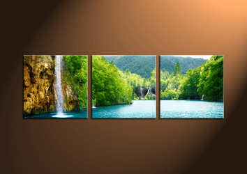 Home Decor Art, 3 piece canvas art prints,ocean canvas print, sunset group canvas, waterfall pictures
