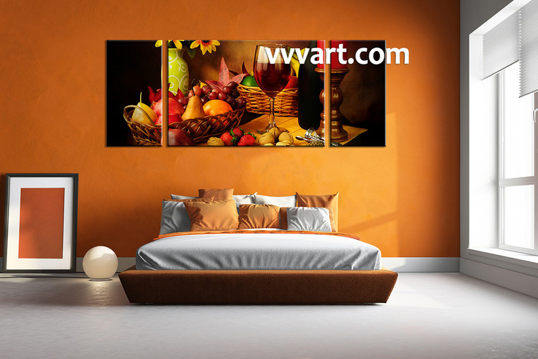 wine multi panel canvas,3 piece canvas wall art, kitchen large pictures,bedroom wall decor