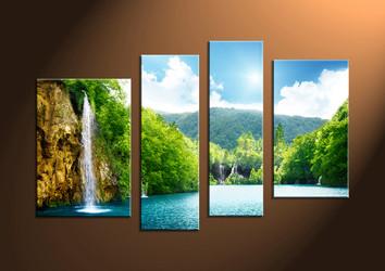 Home Decor Art, 4 piece canvas art prints,ocean canvas print, Scenery group canvas, sunset pictures