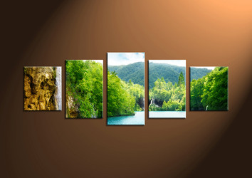 Home Decor Art, 5 piece canvas art prints,scenery canvas print, waterfall group canvas, mountain pictures