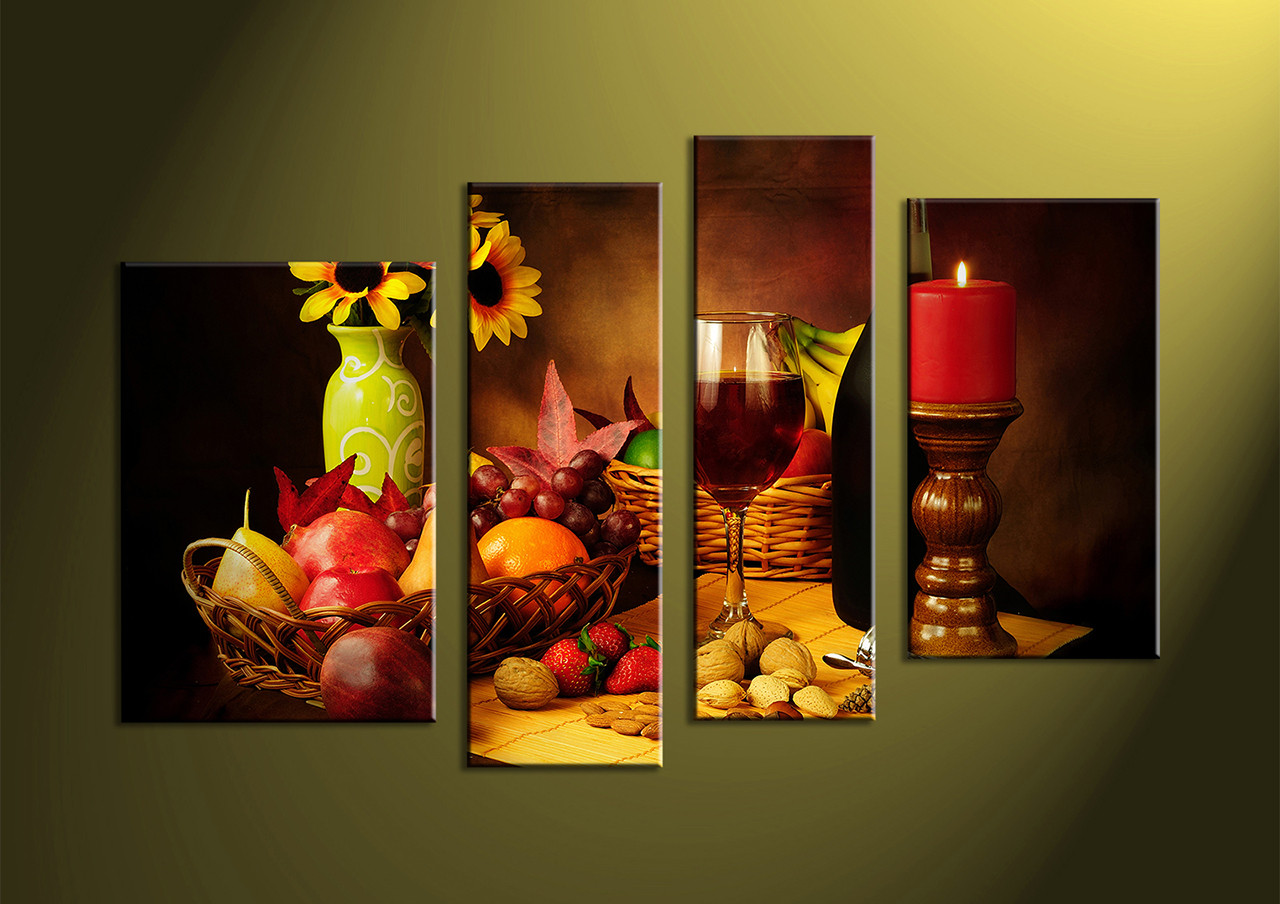 4 Piece Colorful Wine Fruits Canvas Photography
