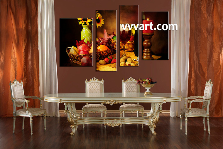 dining room Art,4 piece canvas art prints, kitchen canvas print, home decor, canvas art, wine canvas print