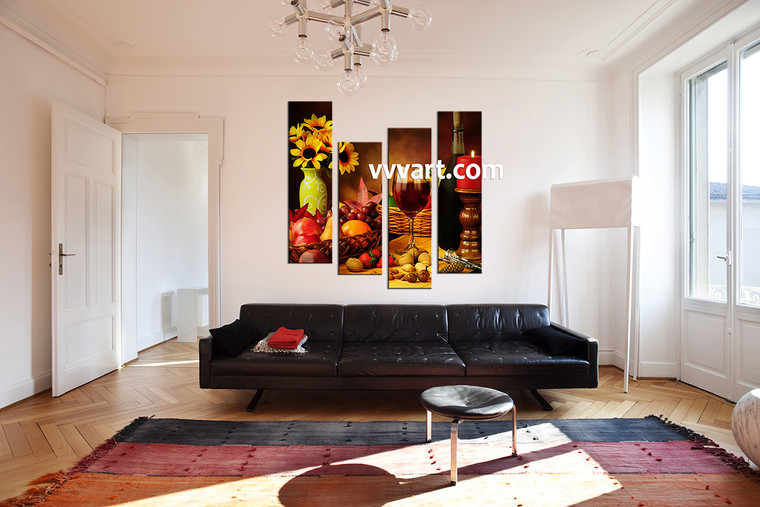 Living Room Wall Art,4 piece wall art, kitchen multi panel art, scenery large pictures, fruits canvas prints