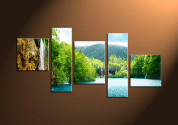 Home Decor,5 Piece Wall Art, scenery multi panel art, mountain photo canvas, waterfall artwork