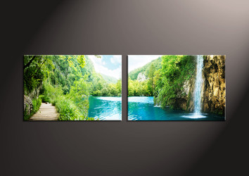 Home Decor Art, 2 piece canvas art prints,mountain canvas print, ocean group canvas, scenery pictures