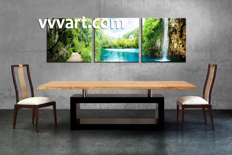 Dining Room Decor,3 piece canvas wall art, waterfall multi panel canvas, Scenery canvas prints, mountain canvas photography