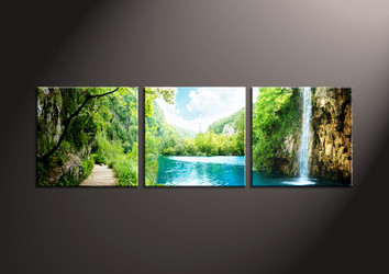 Home Decor Art, 3 piece canvas art prints,ocean canvas print, Scenery group canvas, waterfall pictures